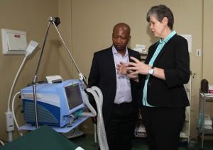 Prof. Geyser explains the life-saving benefits of the ventilator